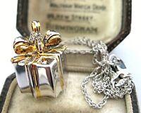 "The Bradford Exchange Sterling Silver ""GIFT BOX"" Diamond Gem Stone Necklace"