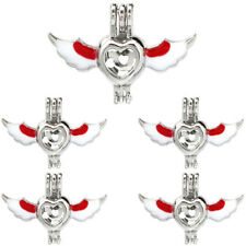 Diffuser Locket Beads Cage Charm 5X-K1070 Silver Enamel Wing Heart