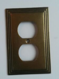 AmerTac Art Deco Style Duplex Outlet Plate Cast Metal Antique Brass Bronze