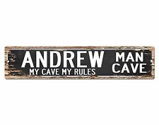 SPMC0035 ANDREW MAN CAVE Rules Street Chic Sign Home man cave Decor Gift
