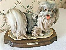 """Dog Pekingese Dog Giuseppe Armani dog figurine """"Pekingese"""" on wood base"""