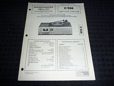 Vtg Original Marantz Service Manual Model C-516 Series 80 Stereo Compact Music