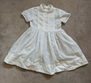 Vintage 60s Girls White Cotton Party Sunday Easter Communion Dress Size 8