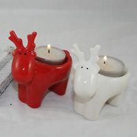 2 x Reindeer Tea Light Candle Holders Red White Gisela Graham T Light Holder