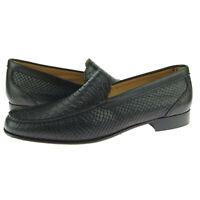 """Alex D """"Fargo"""" Venetian Loafer, Men's Slip-on Leather Shoes, Dark Brown Snake"""