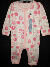 NWT Baby Gap Infant Girl  Sheep Print One Piece Snap Romper 6-9M