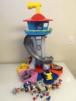 Paw Patrol MY SIZE LOOKOUT TOWER  w/ 8 VEHICLE PLAYSETS COMPLETE SET EUC - LOT 3