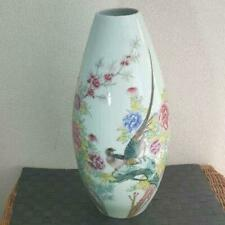 Antique Chinese Vase Poetry Flower Bird Crest, Large vase Made in Qing Dynasty