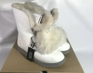 UGG ISLEY PATENT WATERPROOF WHITE LEATHER POM POM Boot US
