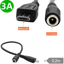 DC 3.5mm x 1.35mm Female to Micro USB 5pin Male Adapter Connector Cord Cable