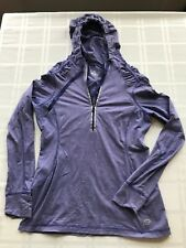 Road Runner Women M Ruched 1/2 Zip Pullover Athletic Hooded Jacket Purple Ts9