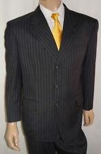 46S Claudio Morelli Mens 46 S Suit Charcoal Pinstripe 3Btn Wool 39W 30L