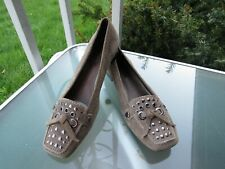 Antonio Melani Womens Taupe LEATHER Slip On Studded Comfort Shoes size 8.5