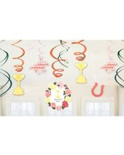 12 MELBOURNE CUP SWIRLS HORSE RACE PARTY HANGING DECORATIONS RACING CARNIVAL