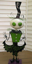 "Happy Halloween Metal Greeter Statue Sculpture Ghost Zombie Skeleton 42"" H"