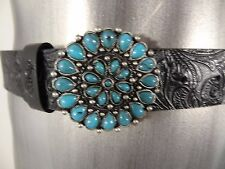 Rusty men's faux leather belt with turquoise buckle black new