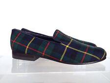 CECILIA BRINGHELI Tartan Wool Loafers Slip on 6.5 US 36.5 EU Green Blue $465