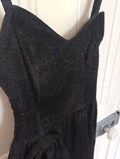 80s Black Velvet Sparkle Glitter Prom Dress