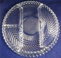 """Vintage Indiana Glass Clear Ribbed Plate 10"""" Round 4 Divided Sections Relish"""