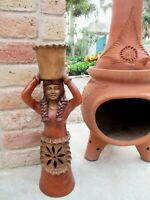 """Mexican Art Terracotta Clay Pottery Braided Woman Figure Pot on Head Lg 25"""""""