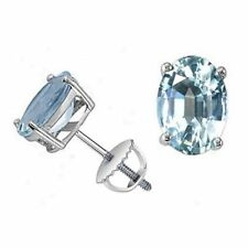 March Birth Stone - 8 mm * 6 mm 2.00Ct Aquamarine Stud Earring , Sterling Silver