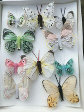 Feather Butterflies - Natural Authentic Butterfly Clip On Decoration -Set of 10