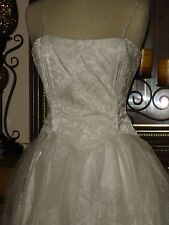 New Jessica McClintock White Wedding Dress Strapless Low Price Silver Tulle 7