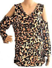 Women's Cold Shoulder Top Size L Leopard print Retail $59.50