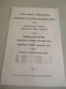 RARE !!!!     Vintage 1946  Collegiate All-Star  Lacrosse Game Program No Res
