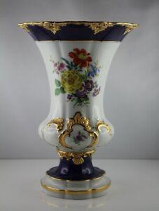 Meissen Meissner Porzellan - Vase Prunkvase Kobaltblau / Gold m. Blumen 1. Wahl