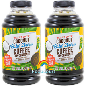 2 Packs Trader Joe's Coconut Cold Brew Coffee Concentrate 16 fl oz Each Pack