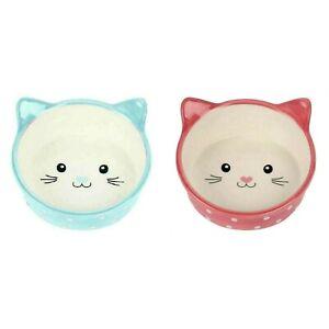 Cat Feeding Bowl Polka Dot Design Kitten 13cm 300ml Dishwasher Safe Pink or Blue