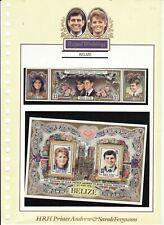 BELIZE - 1986 ROYAL WEDDING SET 3 + MINATURE SHEET UNMOUNTED MINT