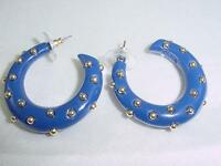 Kenneth Jay Lane KJL Blue Lucite Resin Hoop Gold Studded Pierced Earrings  #1443