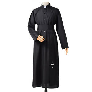 Cross Embrodiery Priest Robe With Belt Christian Clergy Pastor Cosplay Costume