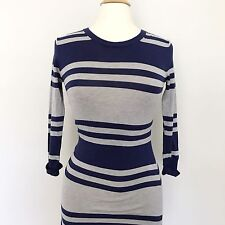 French Connection 3/4 Sleeves Stripes Gray Blue Dress Size 4 Casual