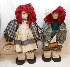 Raggedy Ann & Raggedy Andy Dolls - Free Standing - Hand-Crafted - 20""