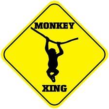 Yellow Aluminum Crossing Sign Monkey Cross Xing Style E Diamond Street Signal