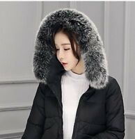 "Real Black&White Fox Fur Collar Fur Hood Trimming Scarf  80*12cm/31.5X4.7"" US"
