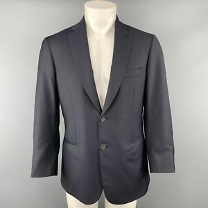 BRIONI by WILKES BASHFORD 40 Short Navy Solid Wool Notch Lapel Sport Coat Jacket