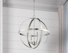 Globe 4-Light Modern Sphere Orb Chandelier Satin Brushed Nickel Pendant Open Ne