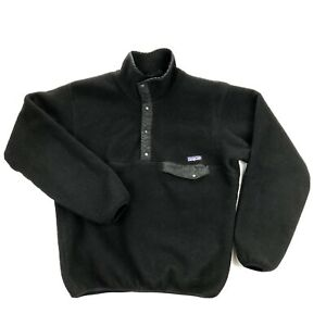 Patagonia Vintage Snap T Mens Small Black Sleeve Pullover Sweater