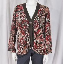 Chico's sz 3 (XL) Multicolor Print Silk Blend One Button LS Cardigan/ Sweater