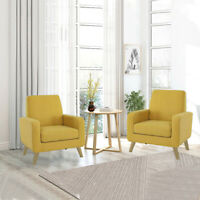 Modern Arm Chair Accent Single Sofa Linen Fabric Upholstered Living Room Yellow