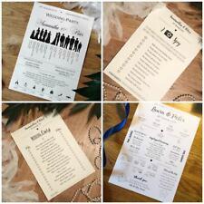 10x Wedding Programs / Ice Breakers / Table Games / I Spy / Quiz cards