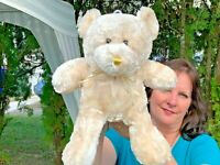 "RARE Vintage Dan Dee Cream Teddy Bear Lovey 14"" Soft Plush Stuffed Animal Toy"