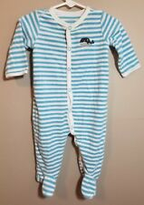 dc648aaf6c Carter s Baby Boys Long Sleeve Footed Terry Cloth Pajamas Size 6 Mo Blue  Whale