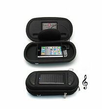 Newest Portable Solar Charger Speaker Case for iPhone, HTC, Nokia, USB in Black