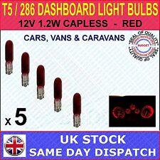 286 T5 INDICATOR DASH LIGHT CAR BULBS, MINIATURE / CAPLESS - RED 12V 1.2W x 5