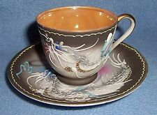 Vintage Japan small TEA CUP & SAUCER fighting DRAGON flying fish gold lined  3D